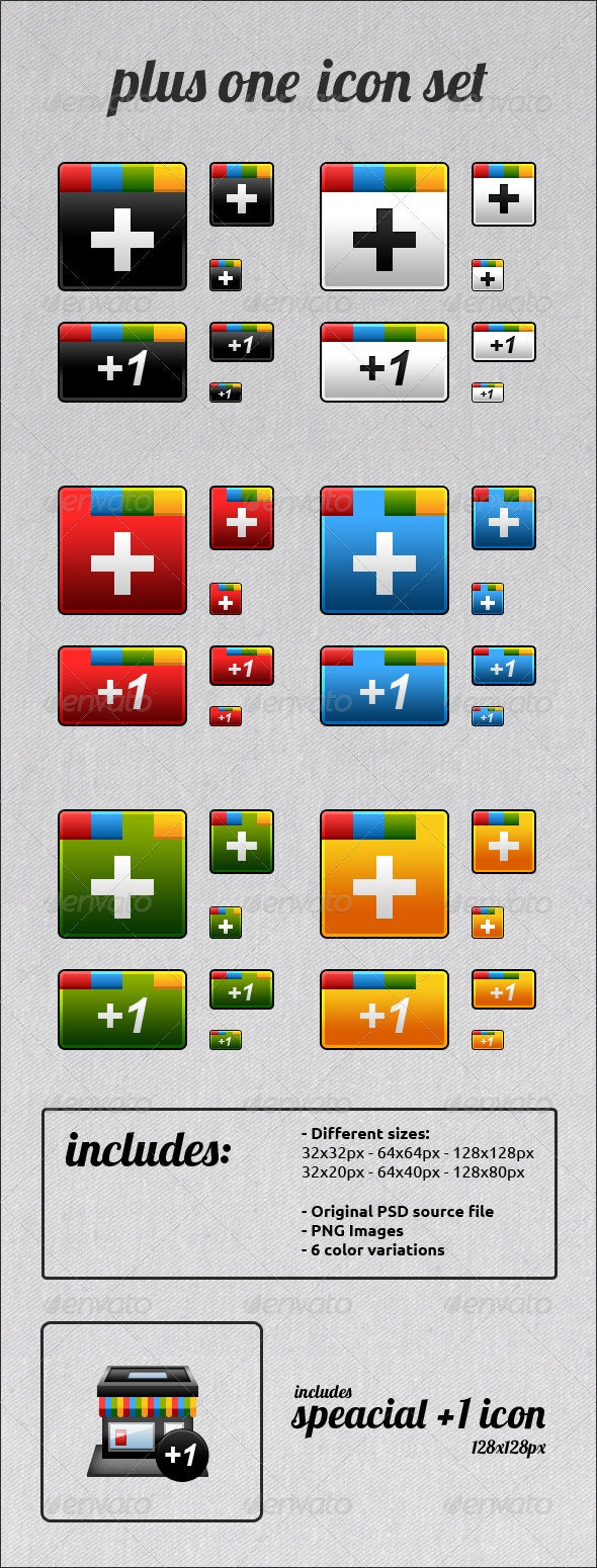 Plus One Icon Set - Web Icons
