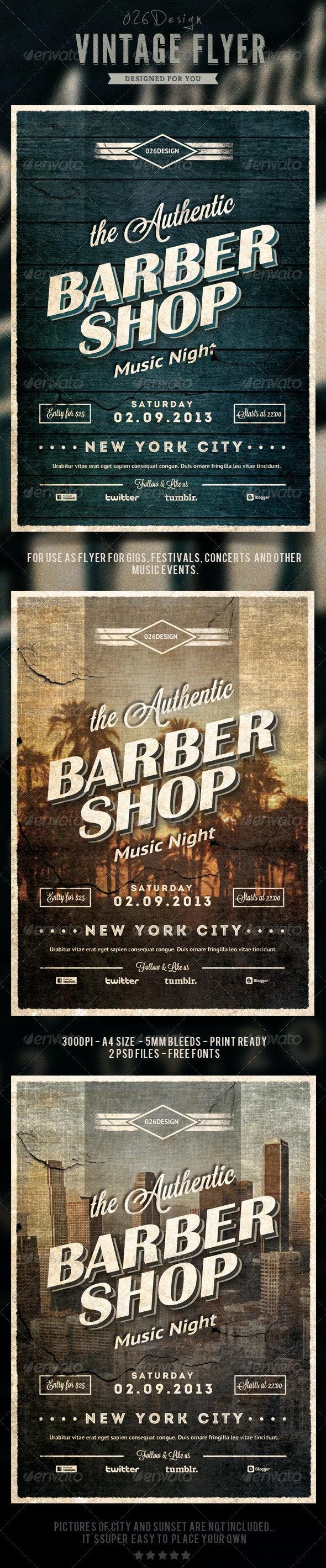 Vintage Typography Flyer / Poster - Concerts Events