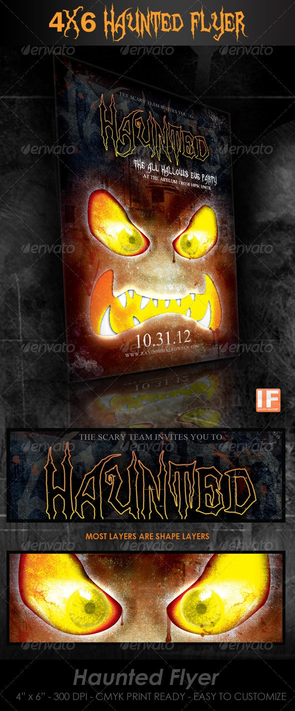Haunted 4x6 Halloween Flyer - Holidays Events