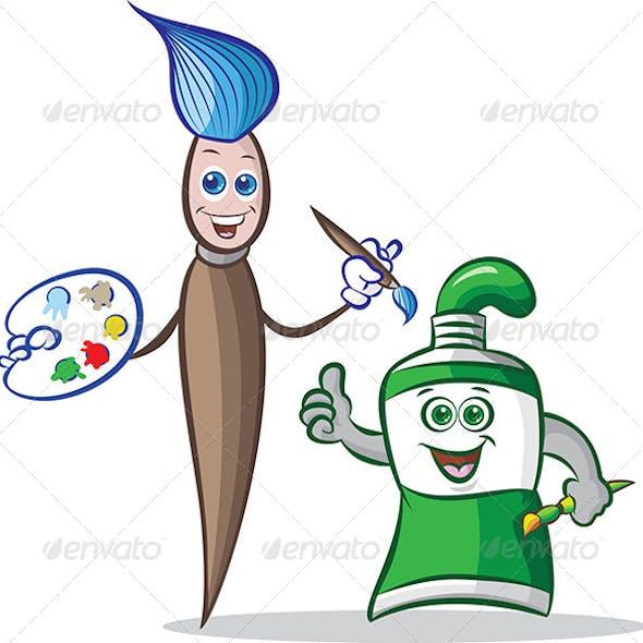 Paint Tube and Paint Brush Mascots