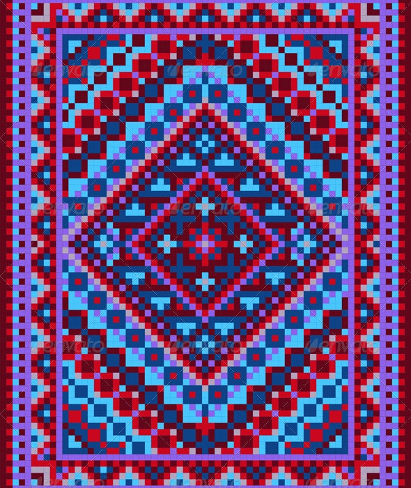 Vivid Carpet Old Style in Blue and Purple Shades - Borders Decorative
