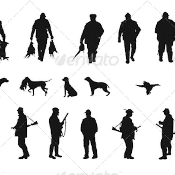 Set of Silhouettes of Hunters, Dogs and Wildlife