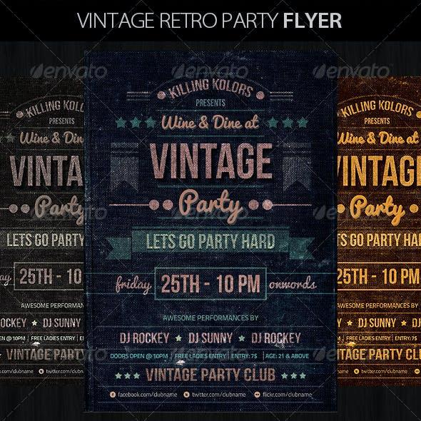 Vintage Retro Party Flyer