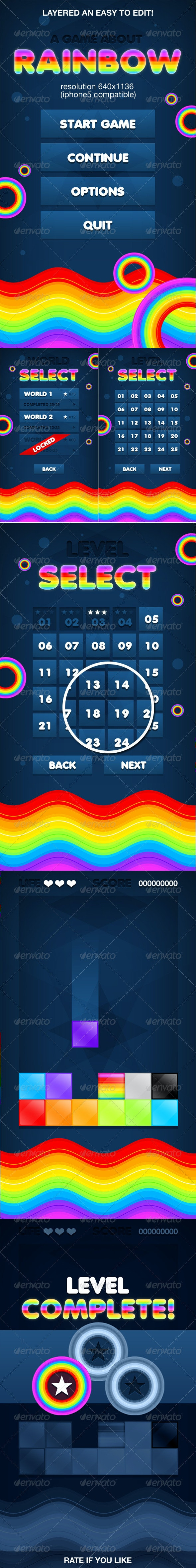 Rainbow Game Ui interface - User Interfaces Web Elements