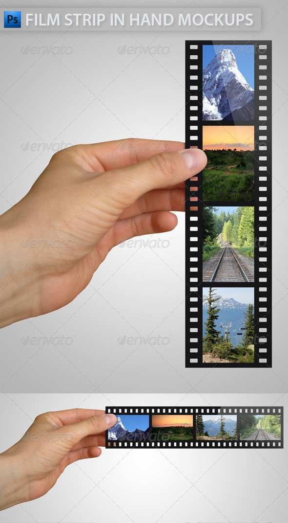 Film Strip in Hand Mock-Ups - Miscellaneous Product Mock-Ups