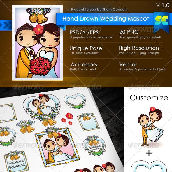 Cute Hand Drawn Wedding Mascot