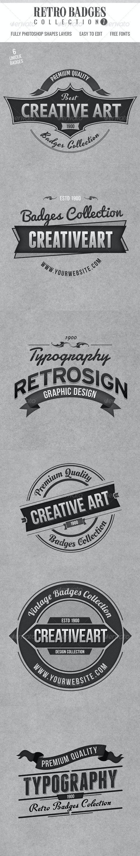 Retro Badges Col 7 - Badges & Stickers Web Elements