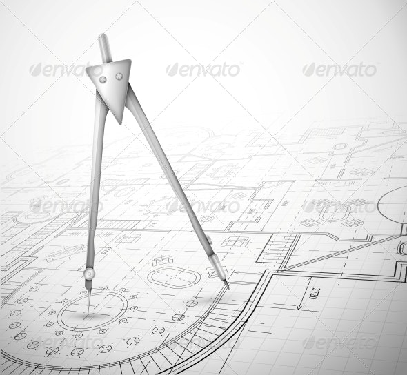 Architectural Plan with Compass - Man-made Objects Objects
