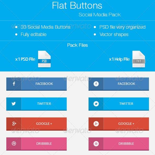 Flat Buttons - Social Pack