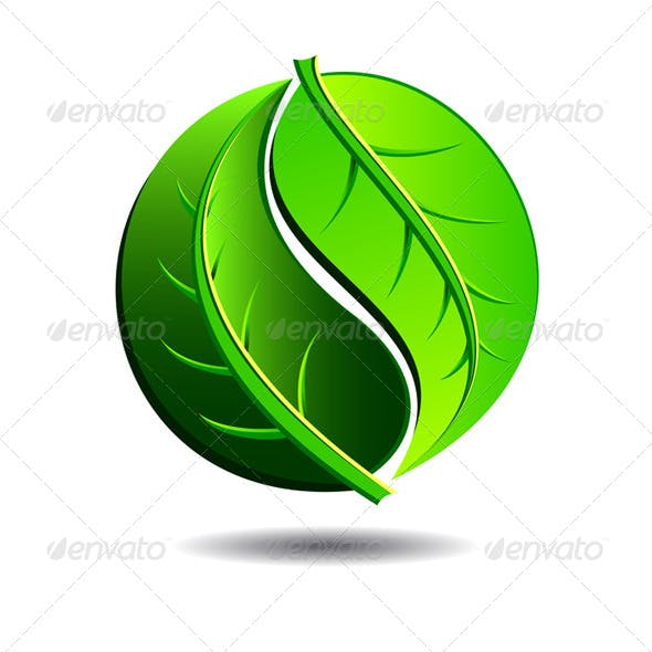 Green Symbol Concept Yin Yang in a Leaf Design