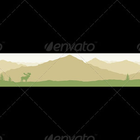 Banner with Mountain Landscape