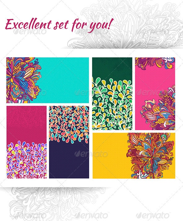 Business Cards Template. Vector Abstract Floral - Decorative Vectors
