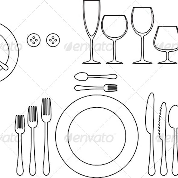 Outline Silhouette of Tableware