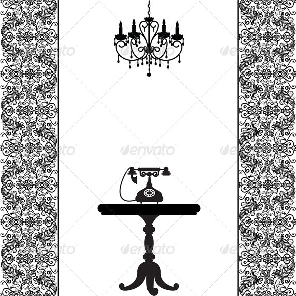 Vintage Card with Telephone, Table and Chandelier - Man-made Objects Objects