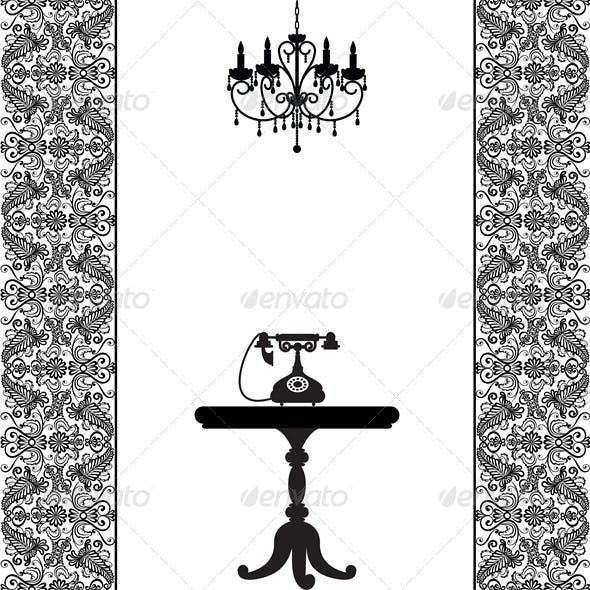 Vintage Card with Telephone, Table and Chandelier