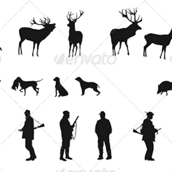 Set of Silhouettes of Hunters Dogs and Wildlife