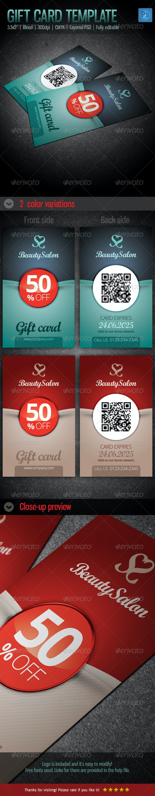 Gift / Voucher Card Template - Cards & Invites Print Templates