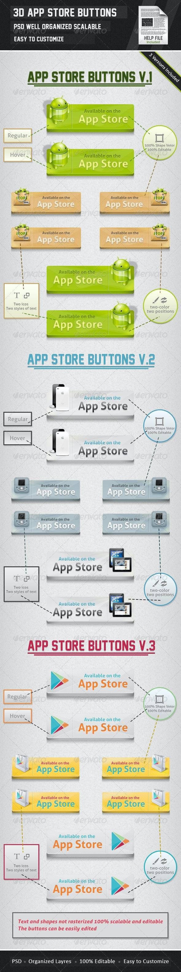 3D APP Store Buttons - Buttons Web Elements