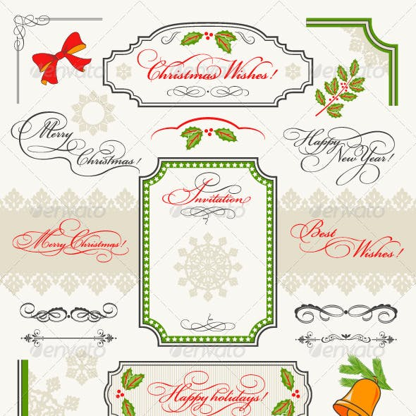 Christmas Collection Calligraphic Design Elements