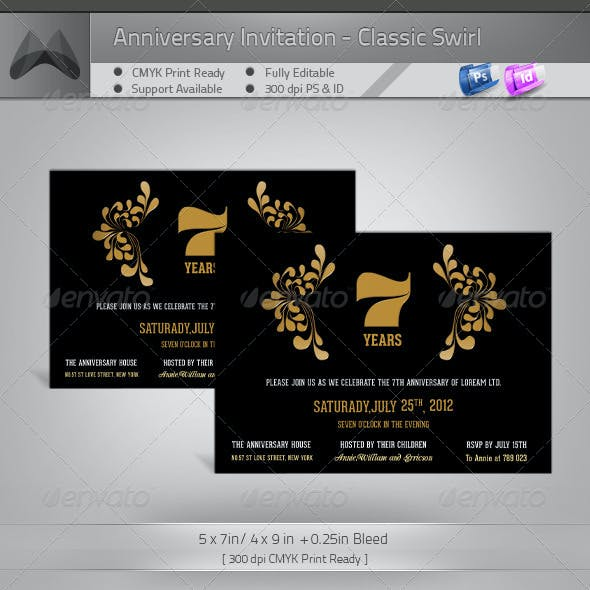 Anniversary Invitation Template - Modern Swirl