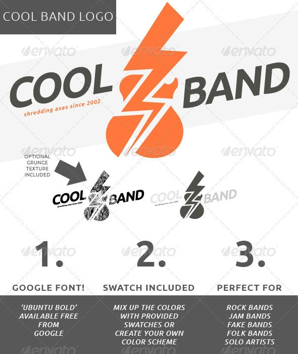 Guitar Cool Band Logo - Objects Logo Templates