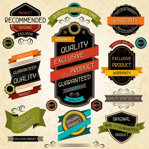 Set of Premium Quality Labels and Stickers.