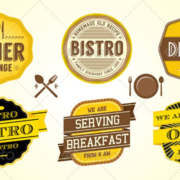 Vintage Diner Cafe Badges