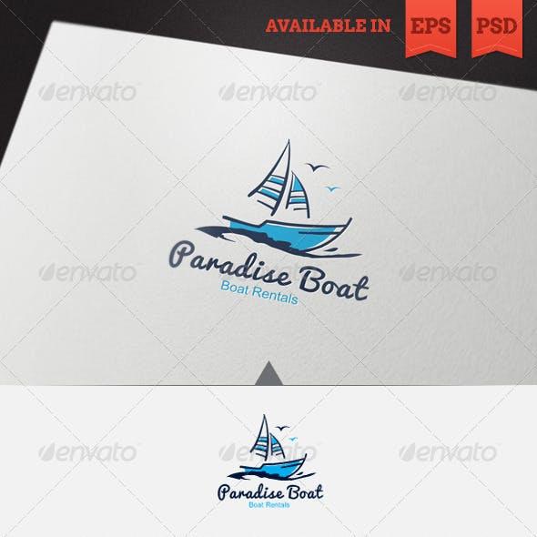 Paradise Boat Logo Template