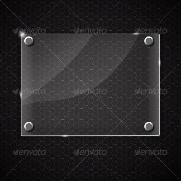 Glass Frame on Abstract Metal Background
