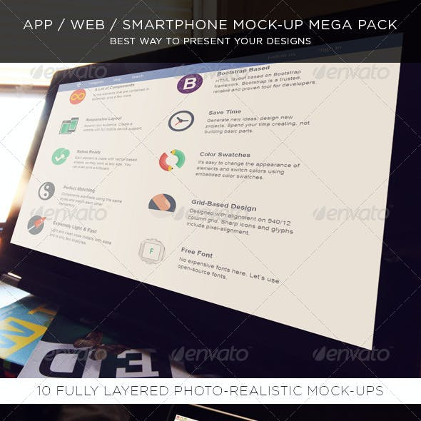 App / Web / Smartphone Mock-Up Mega Pack