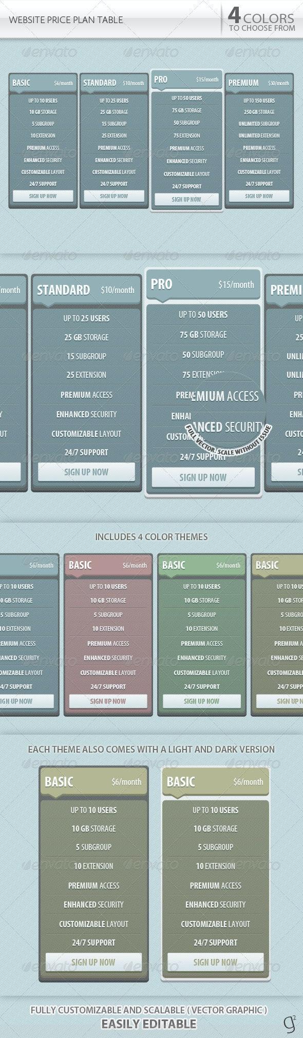Website Price Plan Table