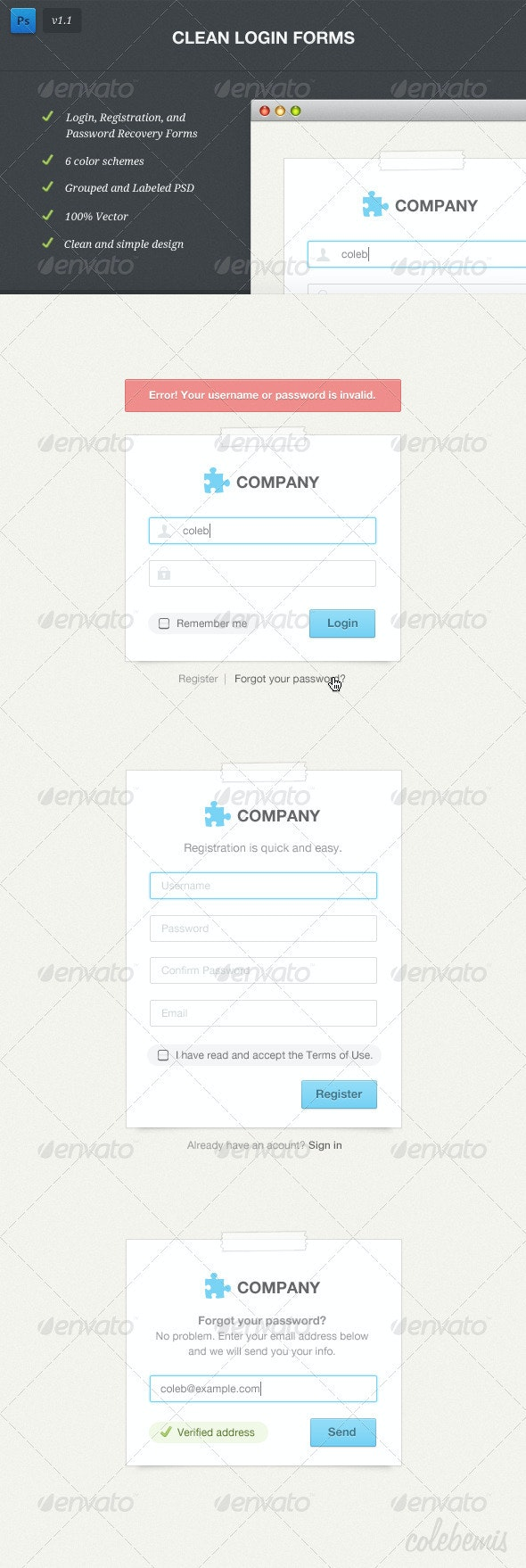 Clean Login Forms - Forms Web Elements