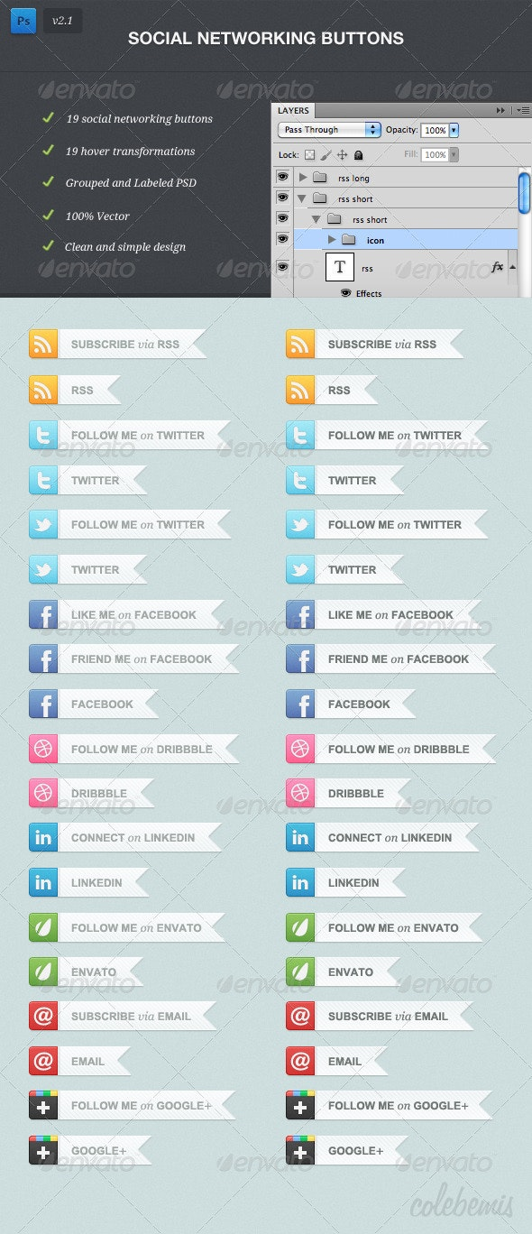 Social Networking Buttons - Buttons Web Elements