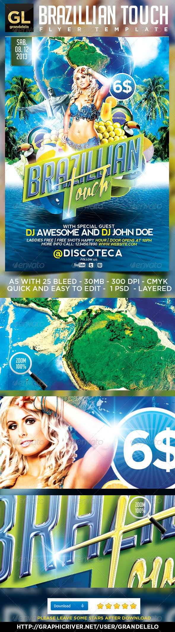 Brazilian Touch Flyer Template - Clubs & Parties Events
