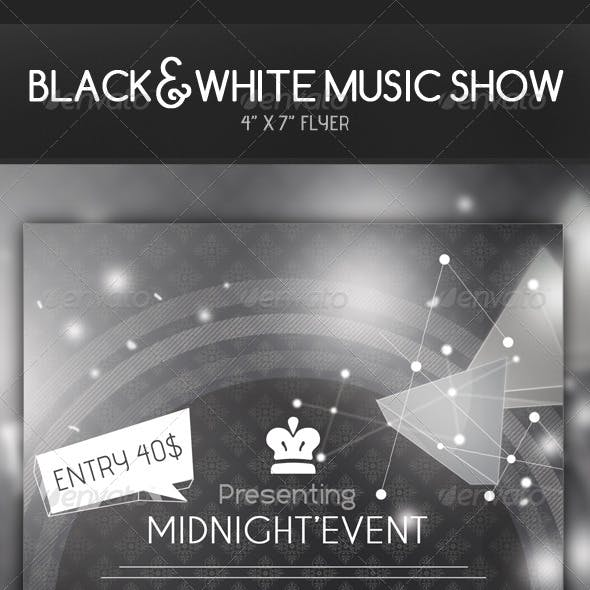 HD Black and white Music Show Flyer