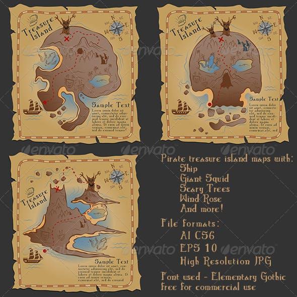 Pirate Treasure Maps Vector Illustrations Pack