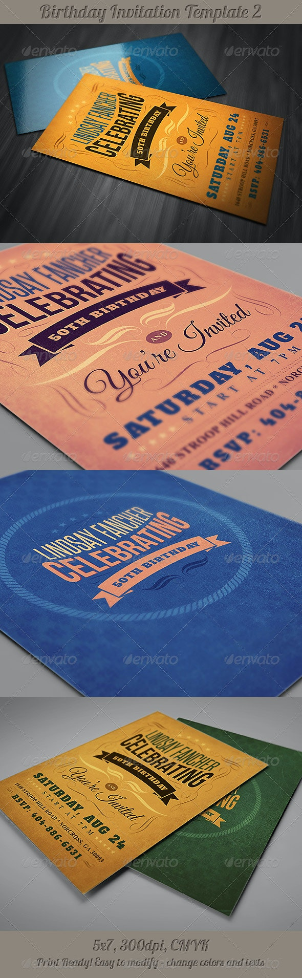 Retro Birthday Invitation 2 - Invitations Cards & Invites