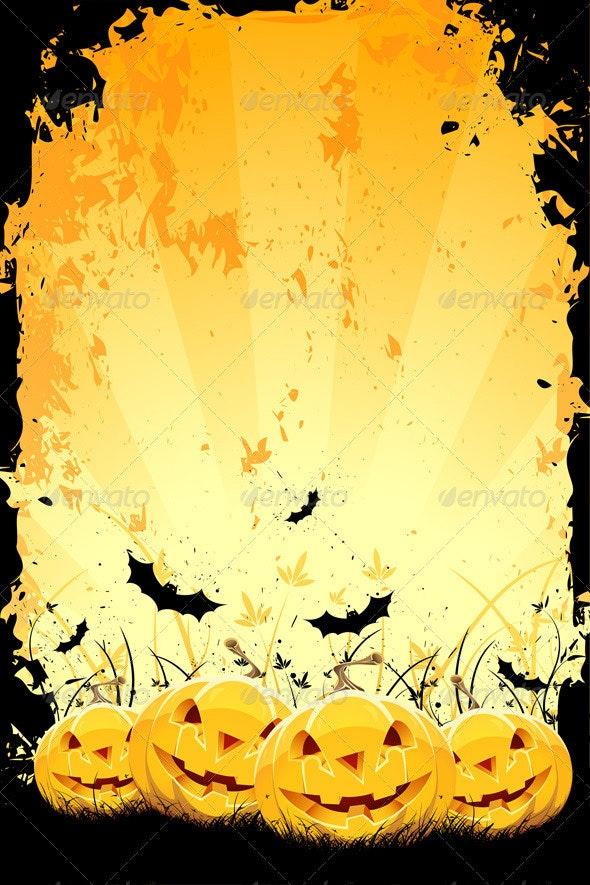 Grungy Halloween Background with Pumpkins and Bats - Halloween Seasons/Holidays
