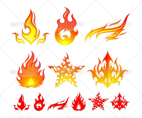 Fire Elements - Decorative Symbols Decorative
