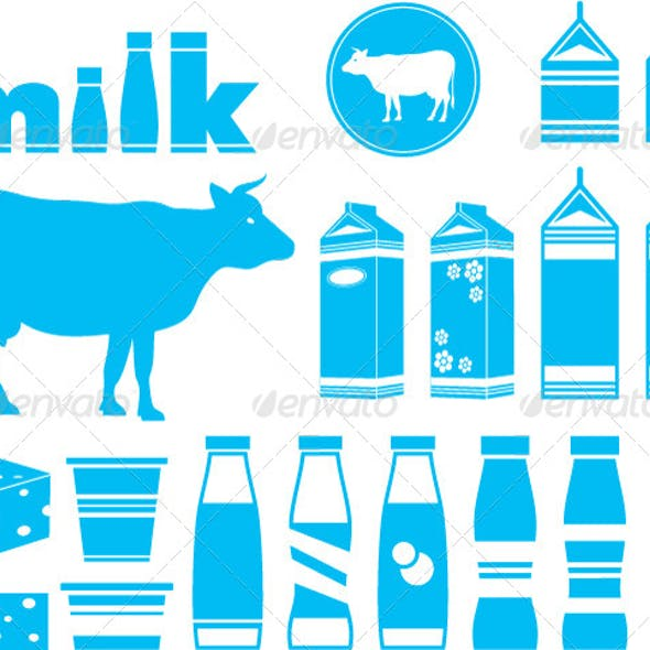 Set Icons of Milk, Dairy Products and Cow