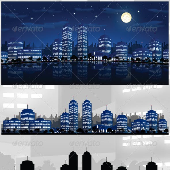 City At Night Vector Background / Skyline
