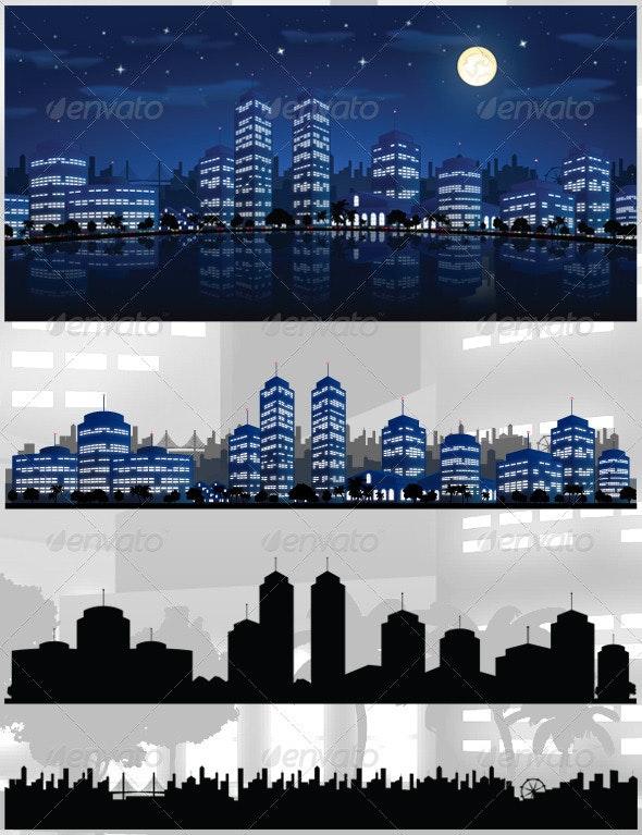 City At Night Vector Background / Skyline - Backgrounds Decorative