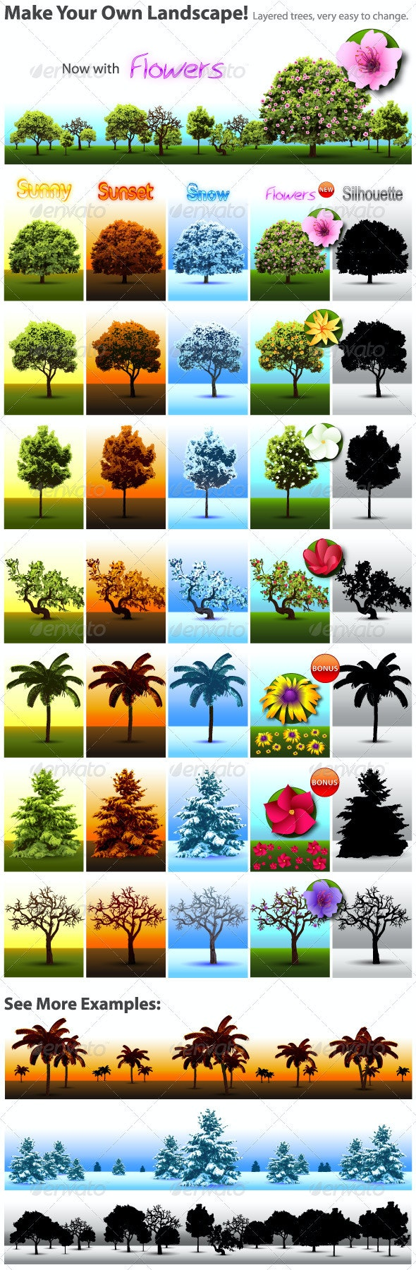 Tree Vector Collection - Flowers & Plants Nature