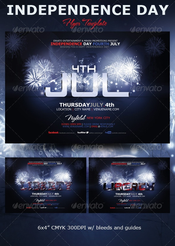 Liberty 4th July Flyer Template - Events Flyers