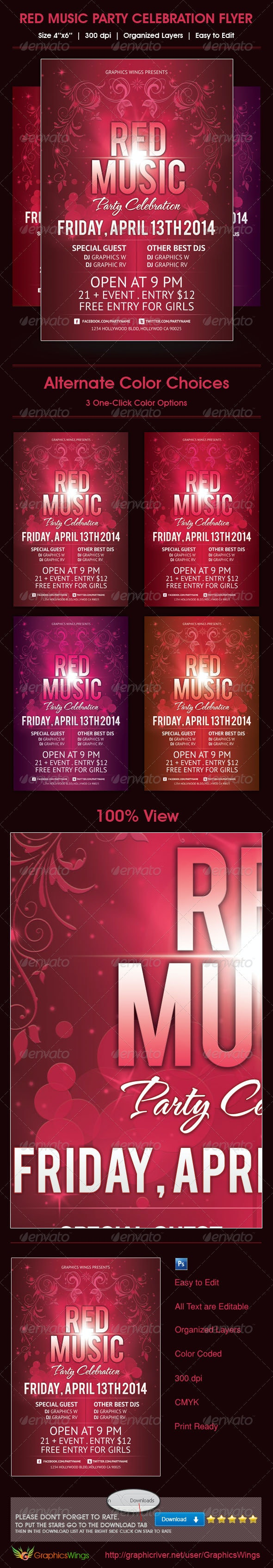 Red Music Party Celebration Flyer Template - Clubs & Parties Events