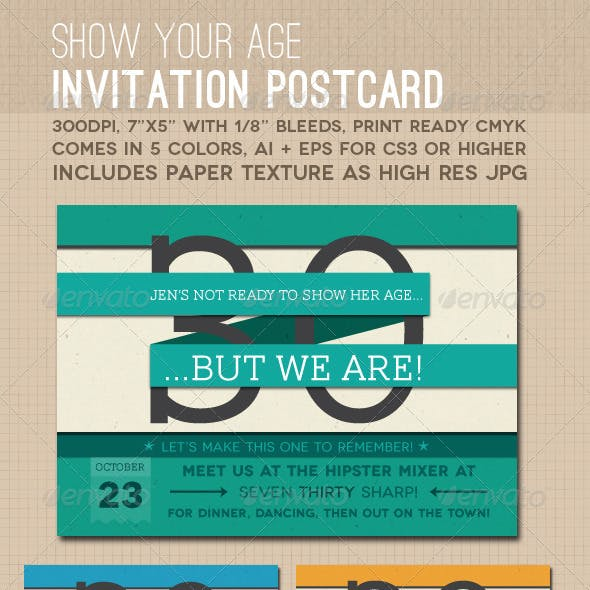Show Your Age Invitation Postcard