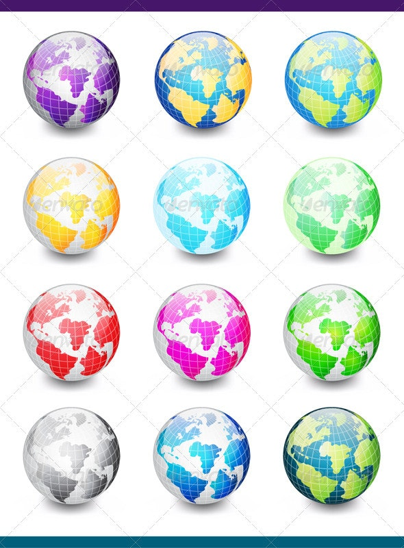 Colorful Globes - Objects Vectors