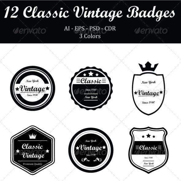 12 Classic Vintage Badges