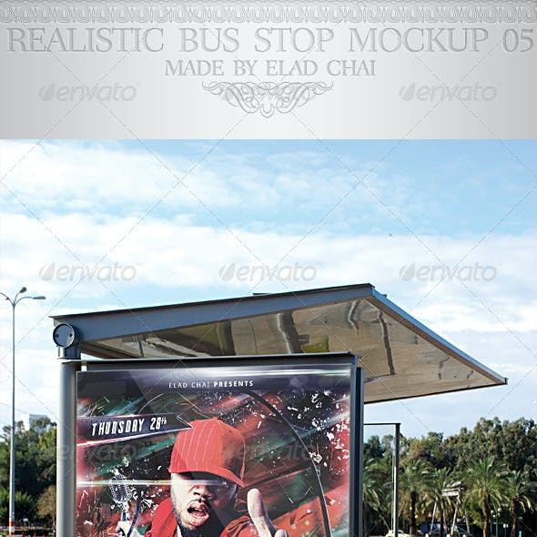 Realistic Bus Stop Flyer Poster Mockup 05