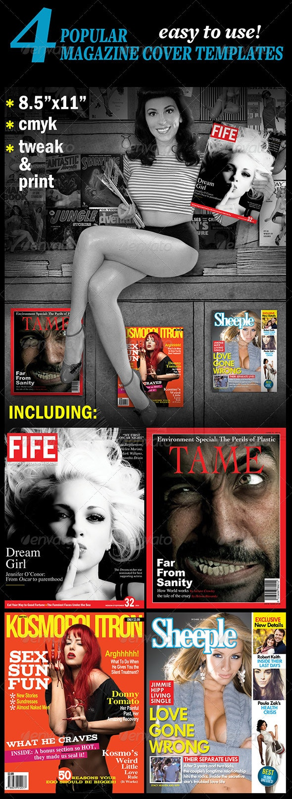 4 Popular Magazine Covers Templates - Magazines Print Templates